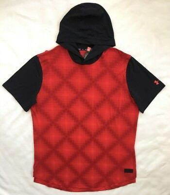 97a246d2d10ad UNDER ARMOUR Mens Baseline Hooded SS Shirt Basketball Red 1298350 NWT  38  2XL