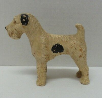 Vintage Antique Terracotta Pottery Fox Terrier Dog Figurine