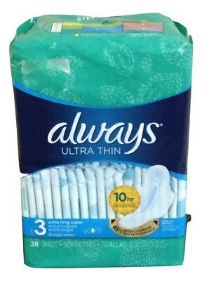 Always Ultra Thin Extra Long Super Pads Size 3 With Flexi Wings 38 Ct Box