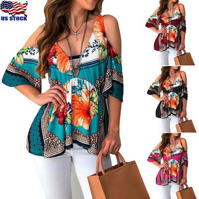 Women Floral Print Short Sleeve Top Cold Shoulder T Shirt Casual Loose Blouse US