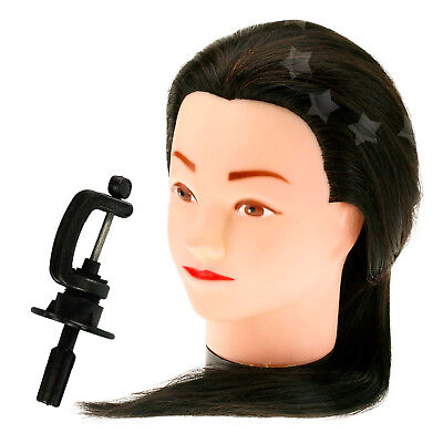 """14""""/18""""/22"""" Long Human Hair Hairdressing Practice Stand Training Head w/Clamp AU"""