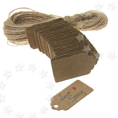 100 x Brown Kraft Hang Tags Wedding Label Blank Luggage Xmas String 4x2CM
