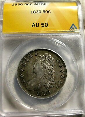 1830 Capped Bust Half Dollar ANACS Certified AU 50
