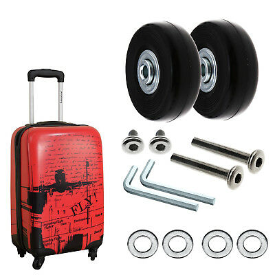 2Pcs Luggage Replacement Wheels Axles Rubber Deluxe Repair OD 50mm Metal