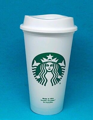 STARBUCKS Reusable Coffee Cup Tea 16oz Plastic Tumbler Grande Mug Recyclable