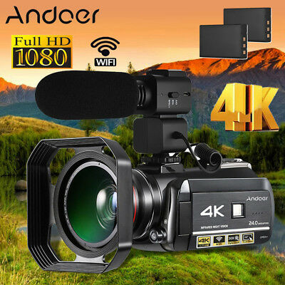 Andoer 4K 24MP 30X Zoom WiFi Night Vision Digital Video Camera+2*Batteries F6P0