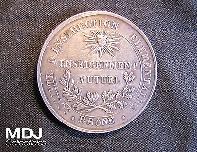 1834 Rhone France Elementary Education Silver French Medal