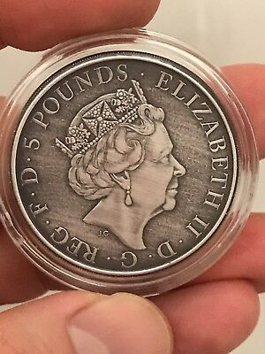 ANTIQUE 2016 2oz 999.9 Silver U.K. £5 Lion Of England Queen's Beast +w/ Gift Box