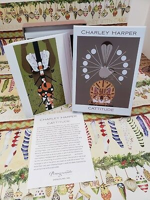 Charley Harper Modernist Blank Greeting Note Cards NEW 20 IN BOX CATS CATTITIDE