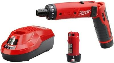 Milwaukee 4V Li-Ion Cordless Hex Screwdriver 2-Battery Kit Powerful Motor New