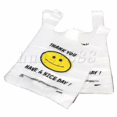 100PCS Middle High-Density Plastic Singlet Grocery Shopping Carry Bags 26x40cm