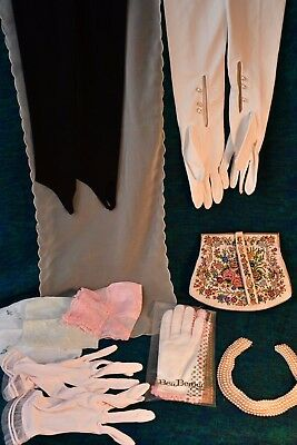 Lot of vintage ladies gloves pearls purses antique Ben Berger scarves W medium?