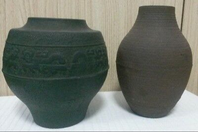 2 Antique Japanese Chinese Cast Iron Vases Very Old Very Collectible For 1 Price