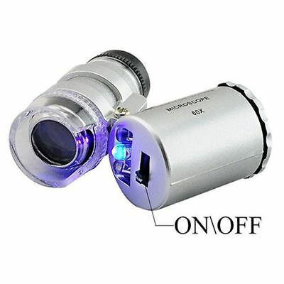 60x Mini Handheld Pocket Microscope Loupe Jeweler Magnifier LED Light Durable
