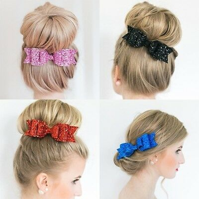 Girl Glitter Shiny Bow Knot Hair Clip Hairpin Girl Bride Style Twinkle Barrette