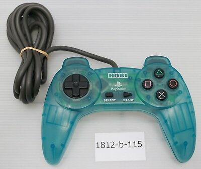 [Free ship] PS1 Controller Clear Blue HORI PAD II Official Work Japan SLPH-0031