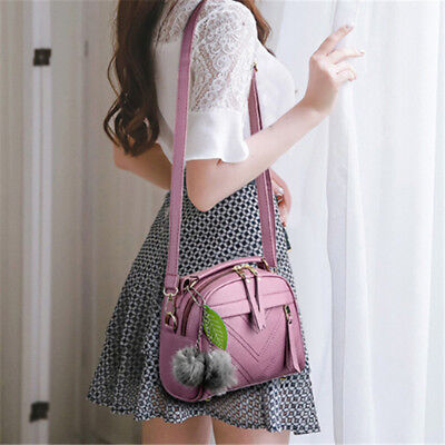 Ladies Faux Leather Handbag Tassel Shoulder Bag Crossbody Purse Messenger SO