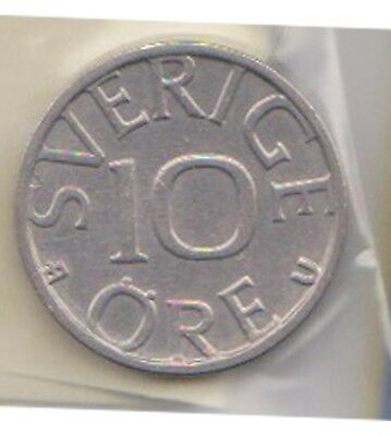 (H119-17) 1980 Sweden 10 ORE Coin (Q)