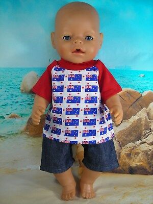 """Dolls clothes for 17"""" Baby Born/Cabbage Patch doll~AUSTRALIA DAY FLAG TOP/SHORTS"""