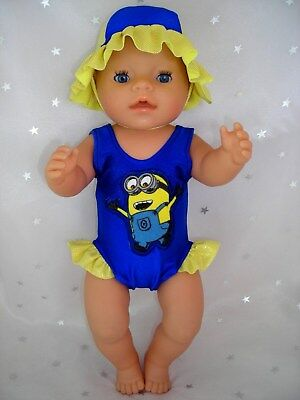 """Dolls clothes for 17"""" Baby Born doll~MINION JERRY SWIMMING COSTUME & SUN HAT"""