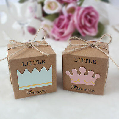 50x Baby Shower Candy Box Kraft Gift Boxes Baptism Party Favour Christening