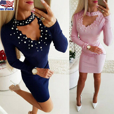 Women Sexy Hollow Choker Bodycon V-Neck Long Sleeve Evening Cocktail Party Dress