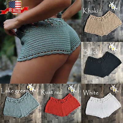 Womens Summer Mini Knit Ladies Casual Shorts Holiday Beach Short Pants Trousers