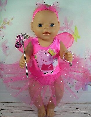 """Dolls clothes for 17"""" Baby Born doll~PEPPA PIG PINK FAIRY WING DRESS~ACCESSORIES"""