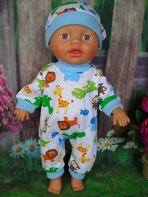 """Dolls clothes for 13"""" My Little Baby Born Boy Doll~CUTE ANIMALS JUMPSUIT & HAT"""
