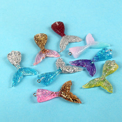 10x Multicolor Resin Mermaid Fish Tail Charm Pendant For DIY Earrings//Bracelet