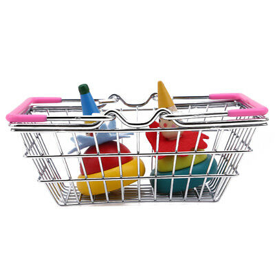 Mini Supermarket Handcart Shopping Cart Storage Trolley Kids Pretend Play Toy SO