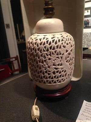 Vintage Table Lamp Pierced Blanc De Chine Hollywood Regency Asian Inspired 1940s