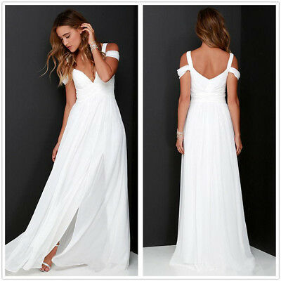 Summer Chiffon Beach Wedding Bridesmaid Dress White Boho Side Split Party Gowns