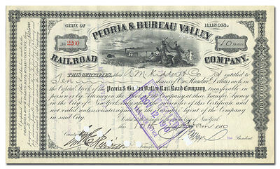 Peoria & Bureau Valley Rail Road Company Stock Certificate