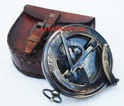 Brass Solid Push Button Sundial Compass with leather case nautical gift 2.5""