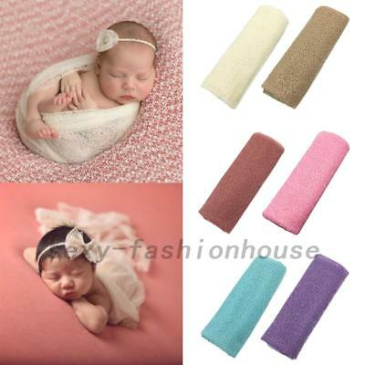 Newborn Baby Girl Boy Crochet Knit Wrap Swaddle Photography Photo Props 8 Color
