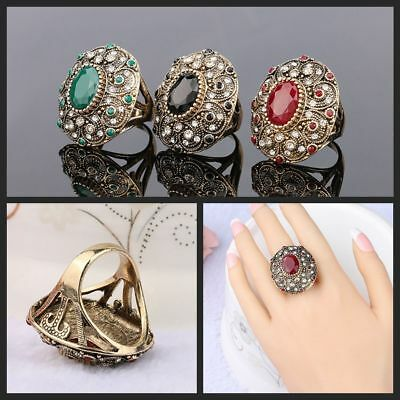 Mosaic Resin Jewelry Antique Rings Ancient Gold Plated Oval Shaped Crystal