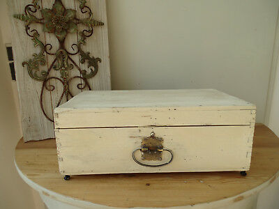 S2740 Old Wood Chest~Wooden Box~Shabby Chic ~White ~Suitcase~Vintage