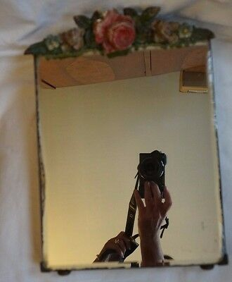 Antique Victorian Dressing Table Mirror with flowers & roses decoration