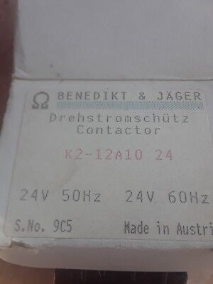 Lot of 4 -BENEDIKT AND JAGER K2-12A10 24 CONTACTOR - 24V Coil NEW IN FACTORY BOX