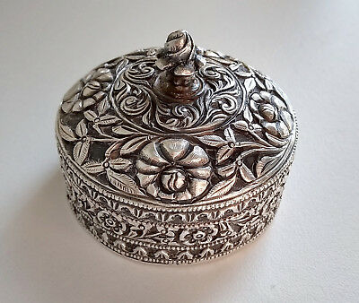 Intricate Antique Heavily Worked Sterling Silver Islamic Ottoman Snuff Pill Box
