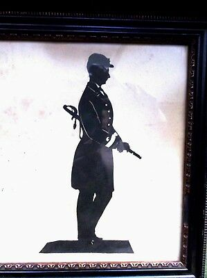 Rare Antique 19Th Century Framed Silhouette  Of An American Civil War Soldier