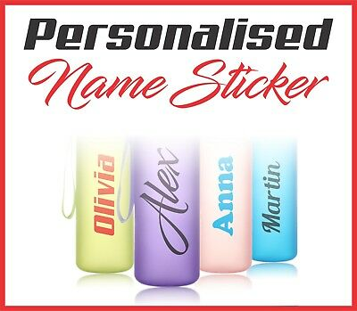 2x Personalised Name Labels Water Bottle Stickers School Gym Drink Bike Laptop