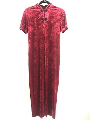 Vintage Womens 8 Red Velvet Midi Dress Boho Oriental Goth Mandarin Collar VTG