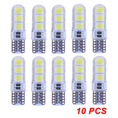 10x T10/5050/W5W 6 SMD LED White Car Side Wedge Tail Light Waterproof Lamp Bulbs