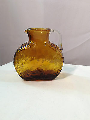 Amber Crinkle Glass Pitcher - Vintage Hand Crafted Blown USA Glassware