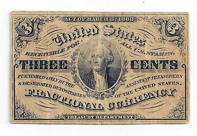 Fr1226 United States Fractional Currency 3rd Issue Three Cent Note (#2)