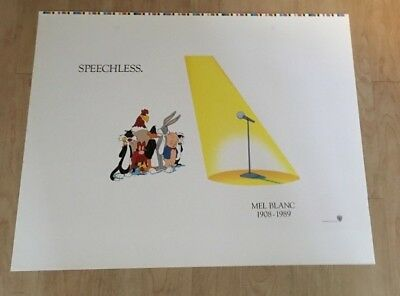 Warner Brothers- Speechless Lithograph- Tribute to Mel Blanc  un-framed