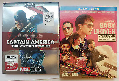 Captain America The Winter Soldier + Baby Driver Blu-ray+Slip Cover, No Digital