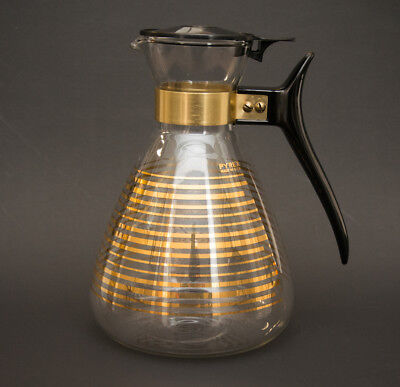 Vintage Pyrex Gold Stripe Glass 8 Cup Coffee Carafe with Lid